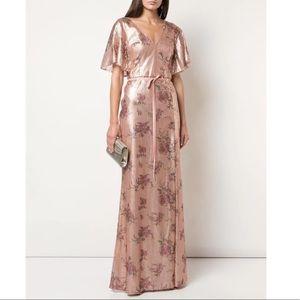 Marchesa Notte Lucca Blush Floral Print Sequin Gown, Size 6